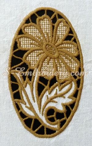 Daisy cutwork machine embroidery design #1