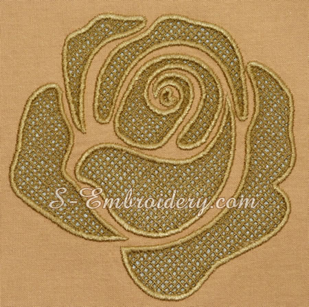 Rose cutwork lace machine embroidery