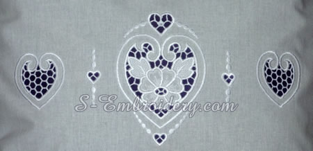 Hearts cutwork lace machine embroidery