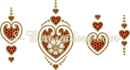 Ideas for cutwork heart embroidery combinations