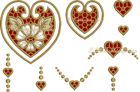 Set of 9 cutwork lace heart machine embroideries