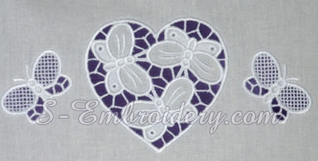Cutwork machine embroidery - heart and butterflies