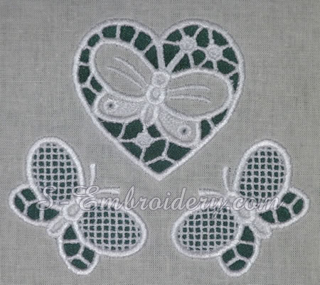 Cutwork machine embroidery #2 - heart and butterflies