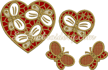 Hearts and butterflies cutwork machine embroidery set