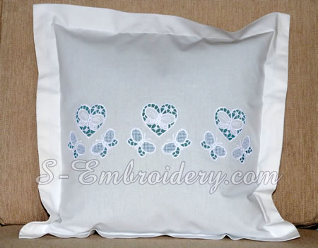Pillow with cutwork machine embroidery - heart and butterflies