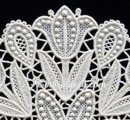 Tulips free standing lace doily - detail