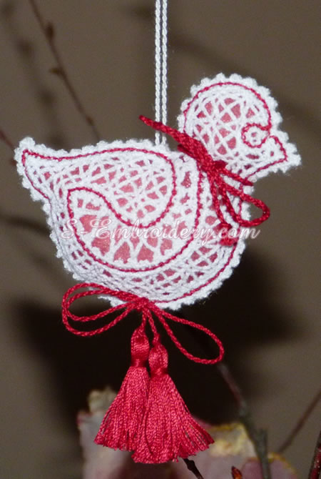 Easter chick 3D free standing lace - red color