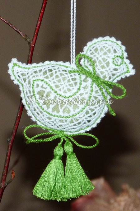 Easter chick 3D free standing lace - green color