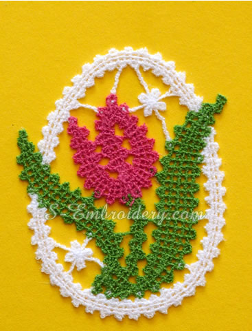 Tulip battenberg lace Easter ornament
