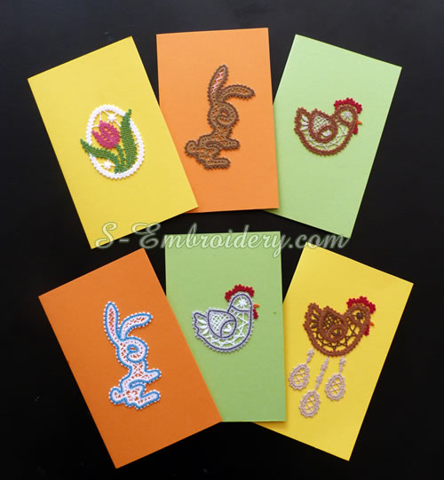 Easter greeting cards with Battenberg lace ornaments