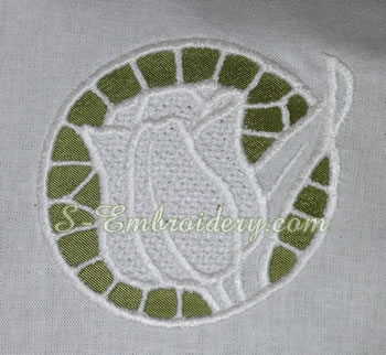 Tulips cutwork lace machine embroidery #3