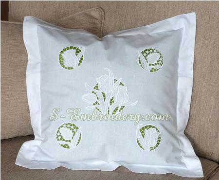 A pillow case with tulips cutwork embroidery