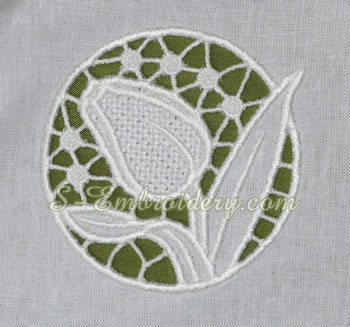 Tulips cutwork lace machine embroidery #4