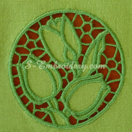 Tulips cutwork lace machine embroidery #2