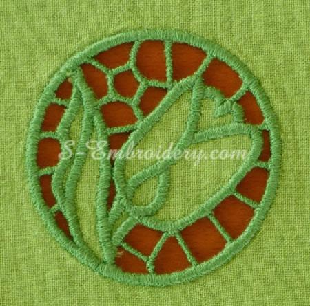 Tulip cutwork lace machine embroidery #3