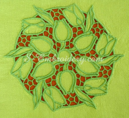 Tulips cutwork lace machine embroidery #1