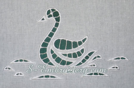Swan cutwork machine embroidery