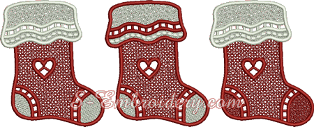 Christmas stockings free standing lace ornaments