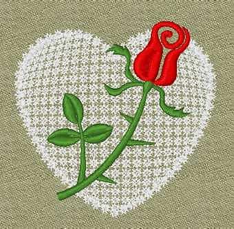 Valentine Embroidery design - Heart & Rose