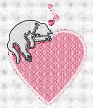 Valentine Embroidery design - Cat and Heart
