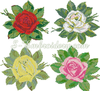 10065 Rose cross stitch embroidery set