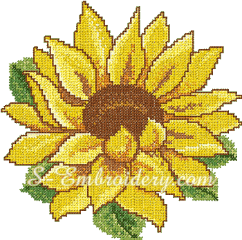 10067 Cross stitch sunflower embroidery No1