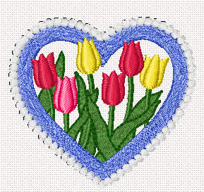 10074 Valentine heart and flowers embroidery