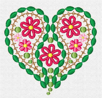10080 Valentine floral heart embroidery