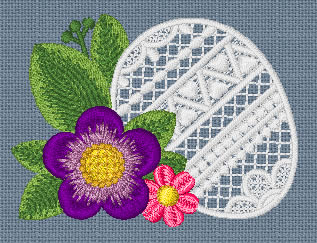 10084 Easter egg and flower embroidery