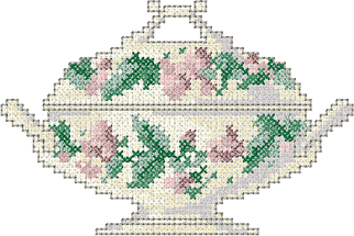 10093 Cross stitch tureen machine embroidery