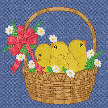 10100 Chicks in basket machine embroidery