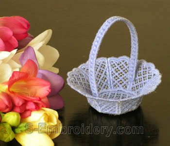 10240 Free standing lace wedding basket No14