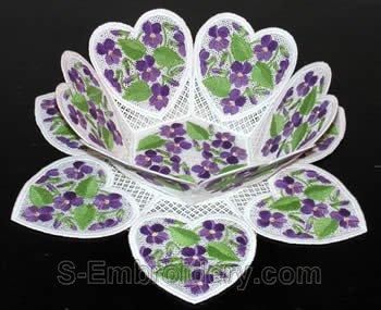 10244 Violets free standing lace bowl set