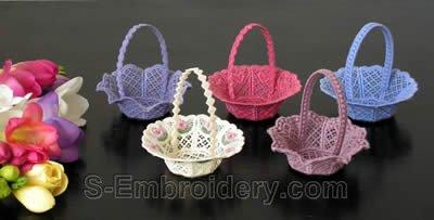 10243 Free standing lace wedding basket set No3