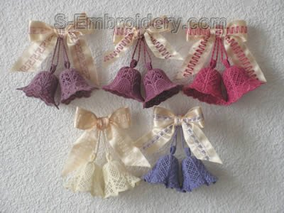 10257 3D Free standing lace bells set No2