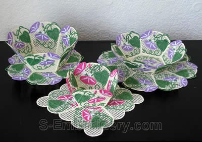 10260 Morning glory free standing lace bowl set