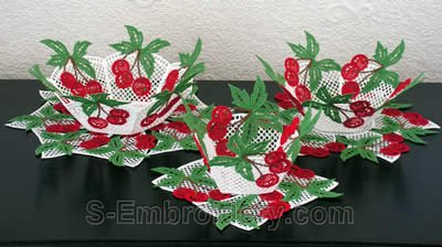 10261 Cherry free standing lace bowl set