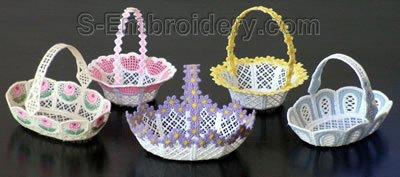 10276 Free standing lace wedding basket set No5