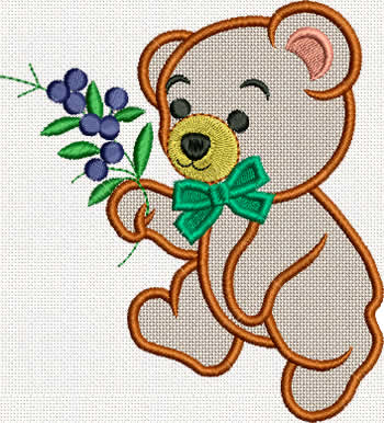 10282 Bear machine embroidery applique set