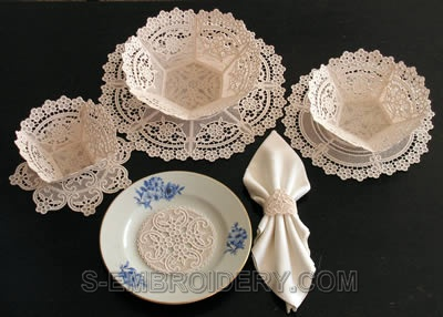 10284 Floral freestanding lace bowl and doily set