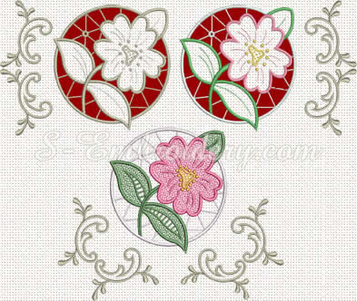 10286 Floral lace machine embroidery set