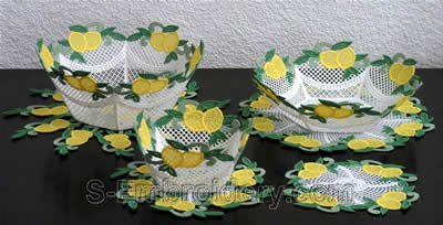 10292 Lemon freestanding lace bowl set