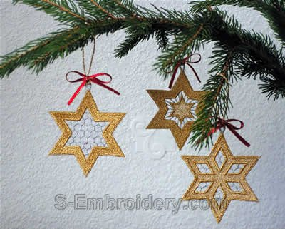 10294 Free standing lace Christmas star ornaments