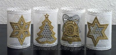 10300 Christmas free standing lace shades set No2