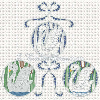 10301 Swan lace machine embroidery set