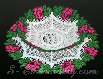 10303 Rose free standing lace bowl and doily