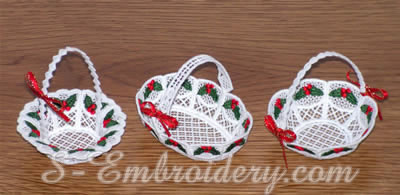 10314 Freestanding lace Christmas Mini basket set