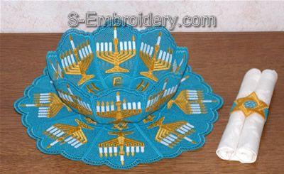 10316 Free standing lace Chanukah bowl set