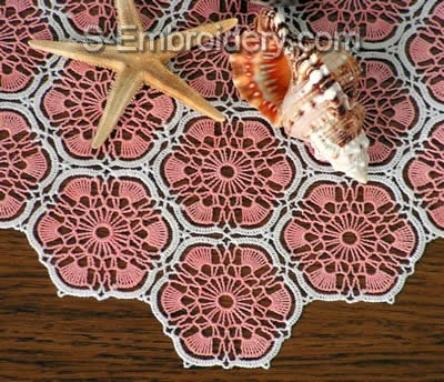 10410 Free standing crochet table lace No3