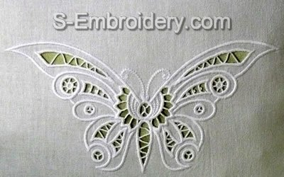 10438 Butterfly cutwork lace embroidery